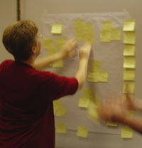 Photo: Whitney working on an affinity analysis